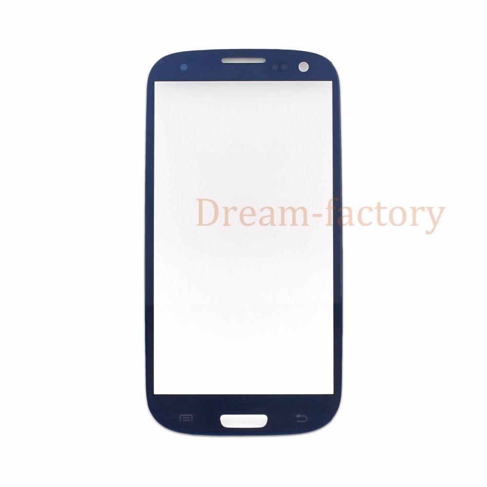 Obiettivo di vetro dello schermo 50pcs DHL anteriore esterno di tocco per Samsung Galaxy S3 / S4 / S5 Nero Bianco Blu