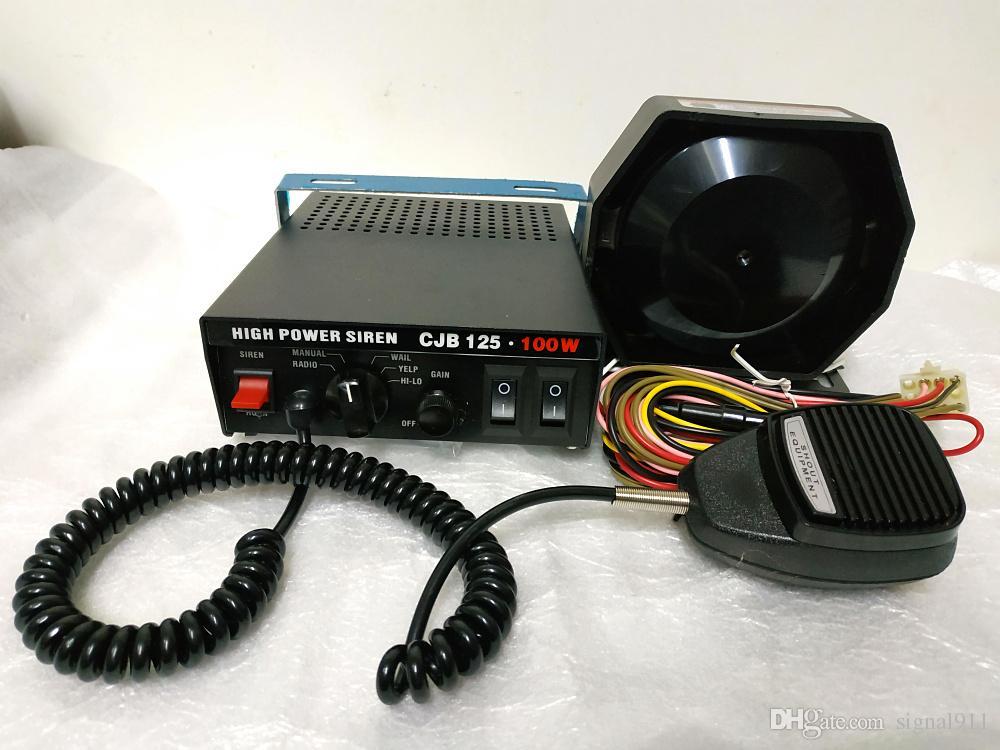CJB125 100W 7sounds police siren car alarm amplifier with microphone,2 lights control switch+100W speaker