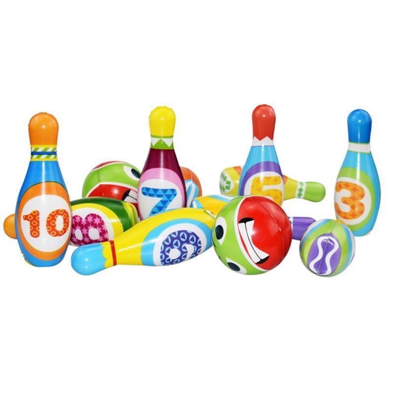 Conjunto de 1 juguetes de juego de la familia de bolos portátil niños juego de deportes al aire libre de interior PU