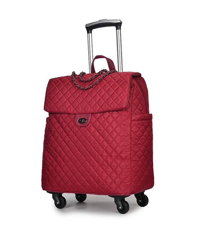 Gepäcktasche tragbare Reise-Trolley-Taschen auf Rollen rollendes Gepäck Frau Handtasche Trolley-Koffer Reisetasche Reiserucksack