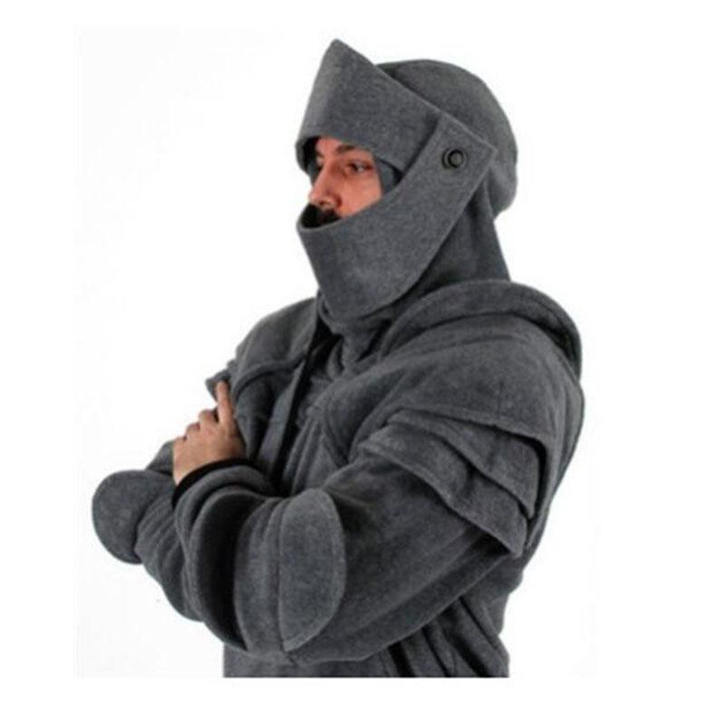 Модные потянув веревку маски рыцарь толстовки осень и зима теплый сплошной цвет пуловер случайные толстовки с длинным рукавом