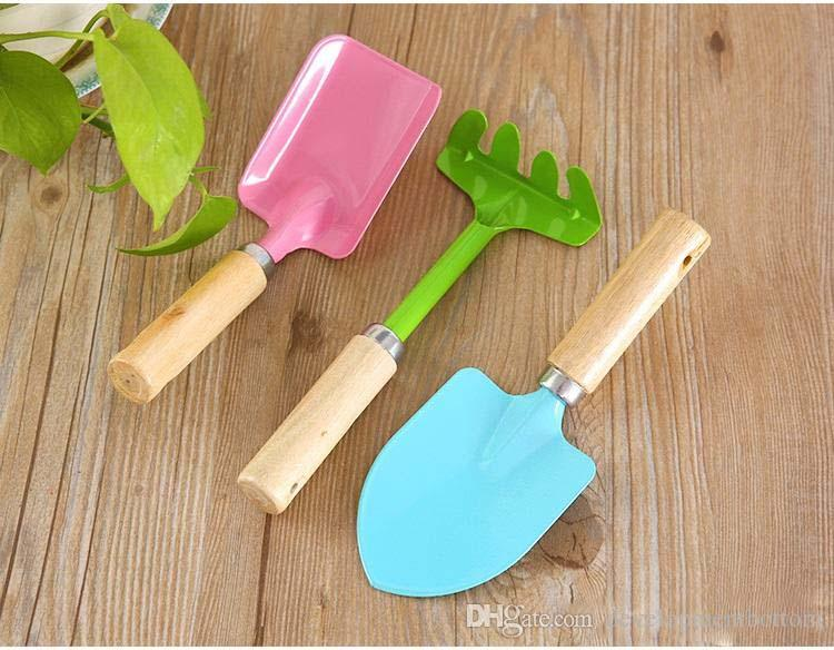 3pcs/set Mini Wooden Handle Small Shovel Metal Garden Rake Gardening Spade Kids Garden Tools