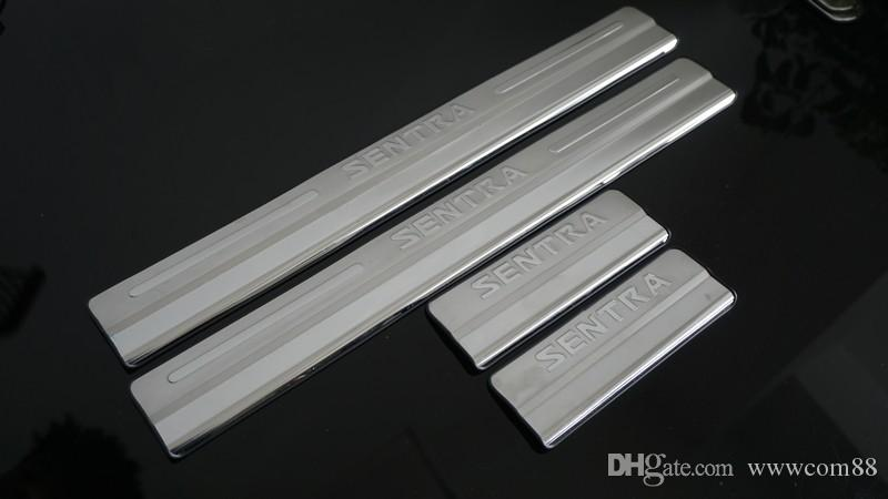 Steel Side Door Scuff Plate Door Sill Trim Fit For Nissan Sentra 2012 2013 2014