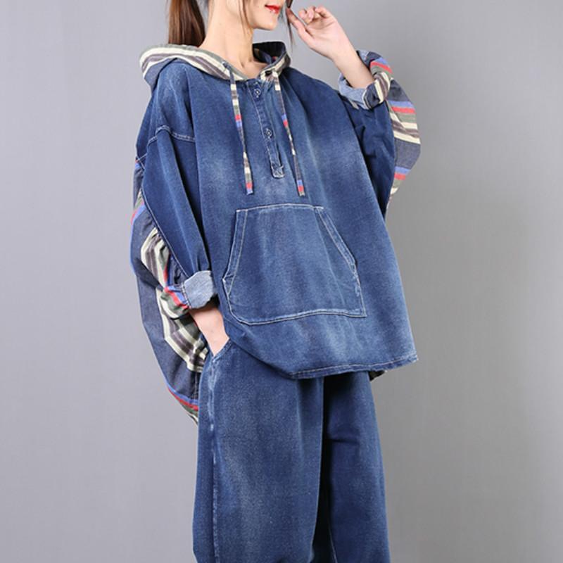 Jeans 2 pezzi Set coreano signore di modo allentato tuta Set Womens denim vintage Suits Patchwork top e pantaloni SA057S50