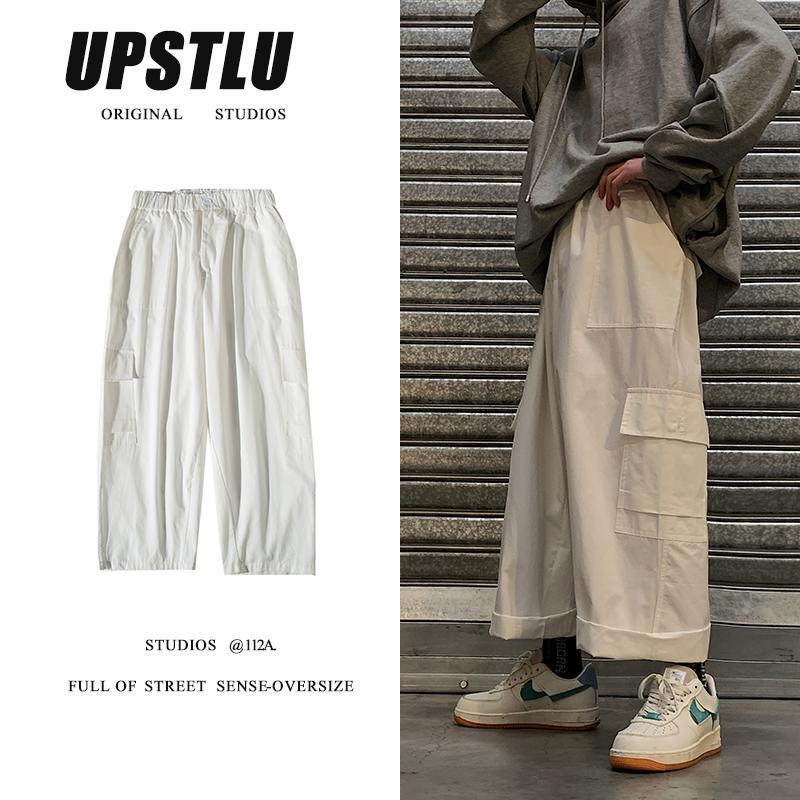 Stretch Waist Casual Pants Men's Fashion Solid Color Multi-pocket Overalls Men Streetwear Hip-hop Loose Straight Trousers Mens
