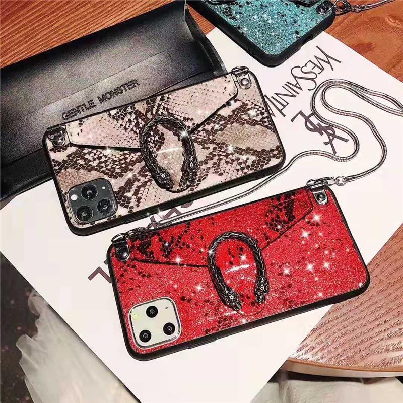 جديد فاخر مصمم الأزياء الأفعى جلد حالة المحفظة بطاقة لفون برو 11 ماكس XS XR X 8 تغطية زائد فون 11 XS MAX 7 6S 6 مع الشريط