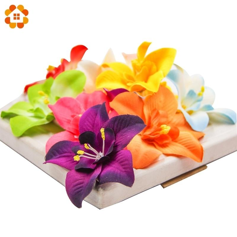 20pcs/lot Artificial Silk Orchid Flower Heads For Wedding Decoration Diy Wreath Gift Scrapbooking Craft Supplies Fake Flower