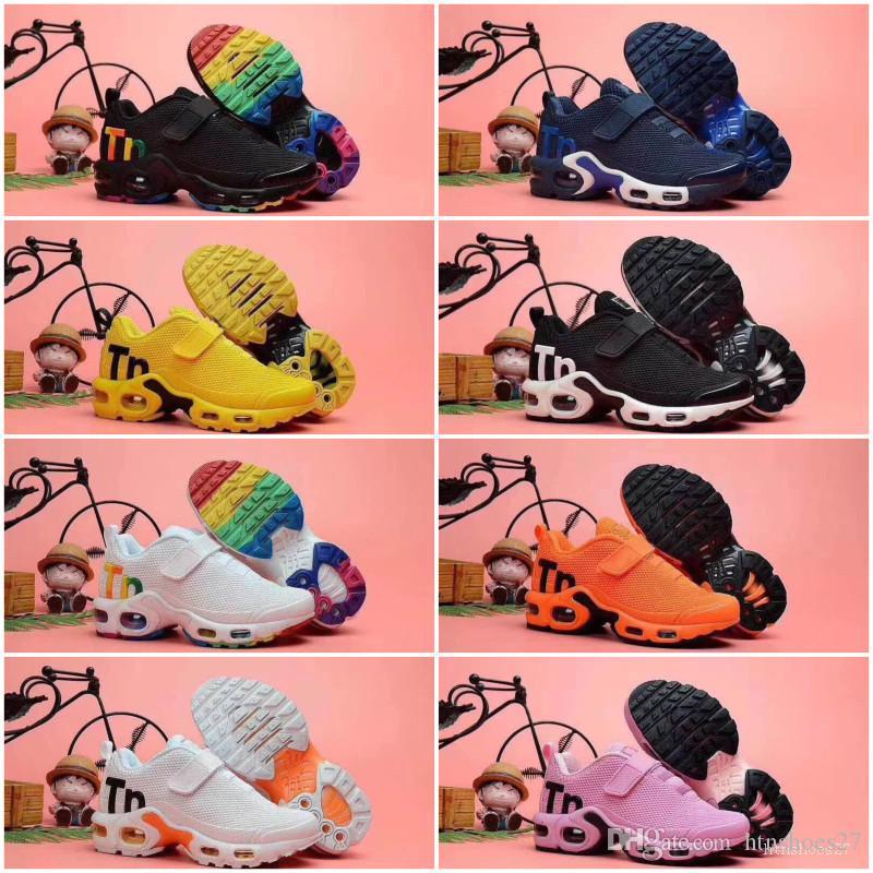 Nike Air TN Plus Sıcak 2020 TN Çocuk Spor Ayakkabıları Çocuk Erkek Basketbol Ayakkabı Çocuk Huarache Legend Mavi Sneakers Boyut 28-35