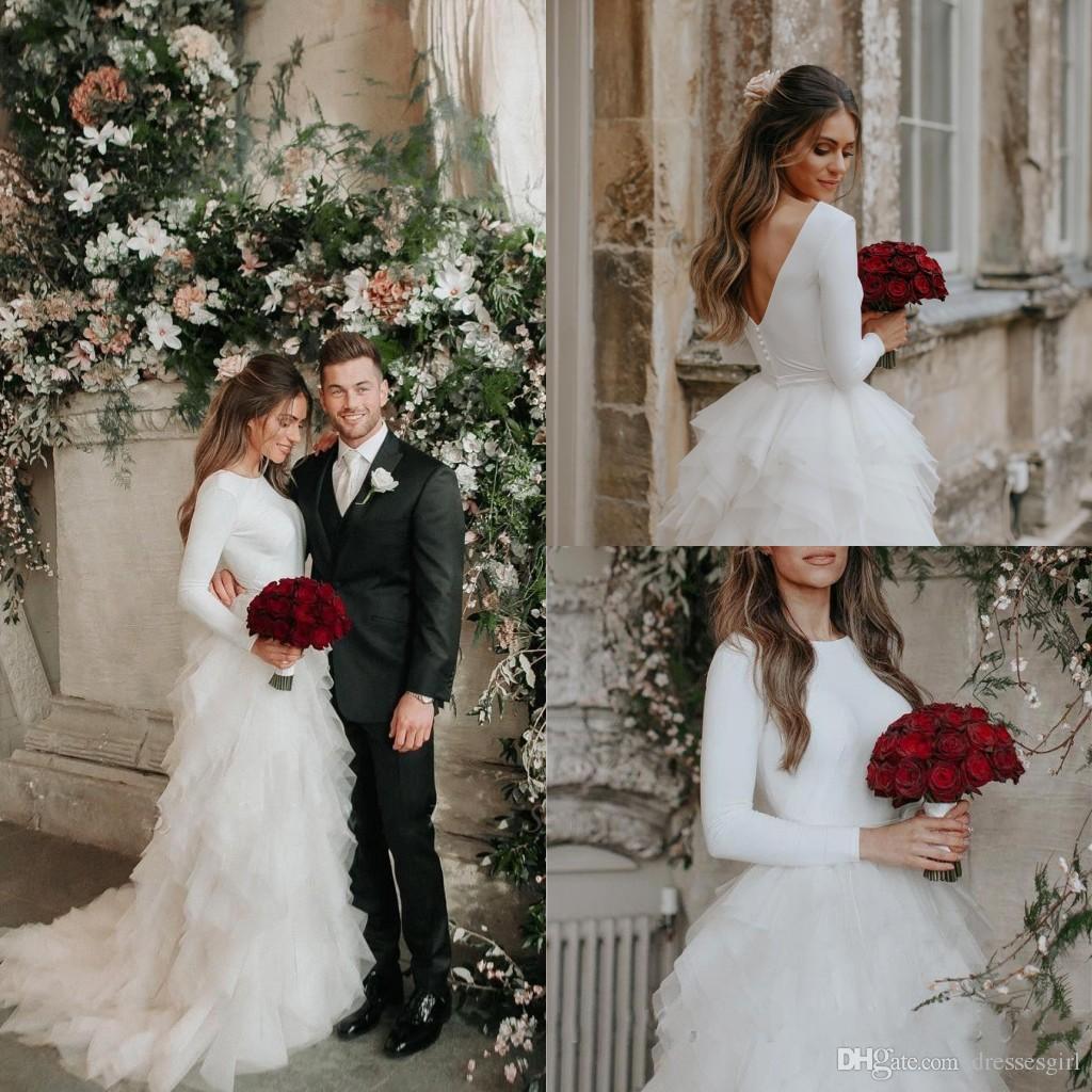 Sinple Long Sleeve A Line Wedding Dresses with Ruffle Train Bridal Gown V Cut Backless Vestido de Novia BC2695