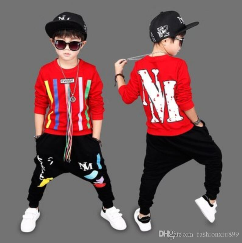 2020 Sonbahar İlkbahar Erkek Giyim Seti Spor Çocuk Giyim Setleri Kapüşonlular Pantolon Boys Giyim 3 4 5 6 7 8 9 10 11 12 Yıl Tops