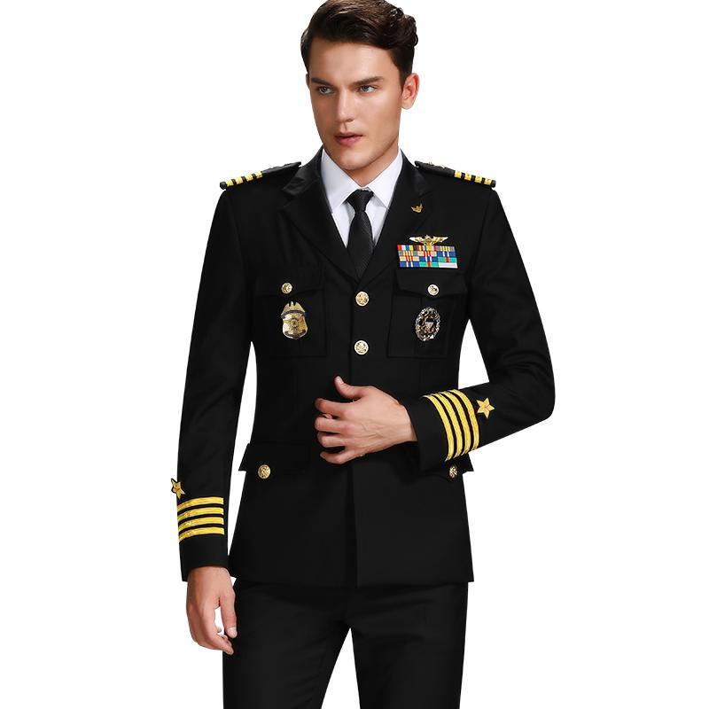 Uniforme Militar Almirante alta calidad Trajes Hombre capitán de navío uniformes fija el juego de un solo pecho de tarjetas de seguridad Ropa de Trabajo
