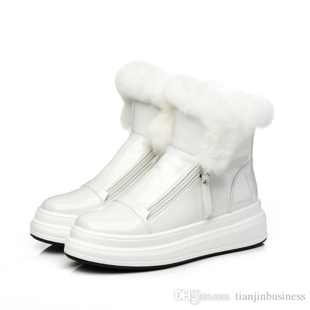 nuevas botas cortas estilo de la universidad de charol conejo material de piel de cabeza redonda para muffins suelas calientes mujeres nieve retro botas