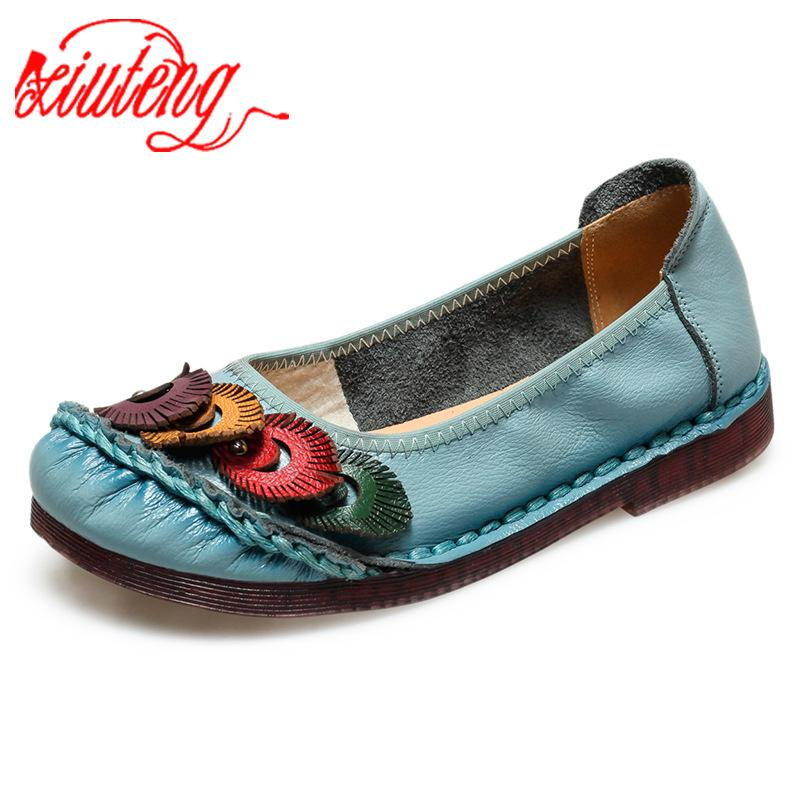 Xiuteng нации Стиль Оксфорд обувь Женщины 2020 Весна мягкая кожа Oxfords Квартиры Повседневная обувь Узелок ретро BROGUE Shoes006