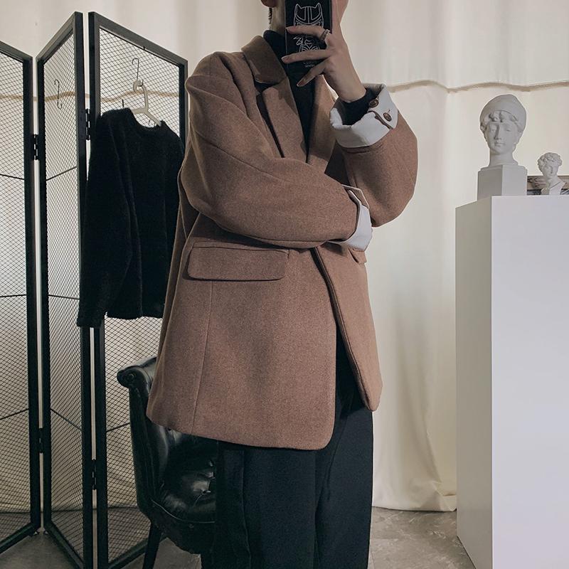 2019 осень и зима Новый Утолщенные шерстяное пальто вскользь сплошной цвет Сыпучие Большой размер сплошного цвета средней длины куртка M-5XL