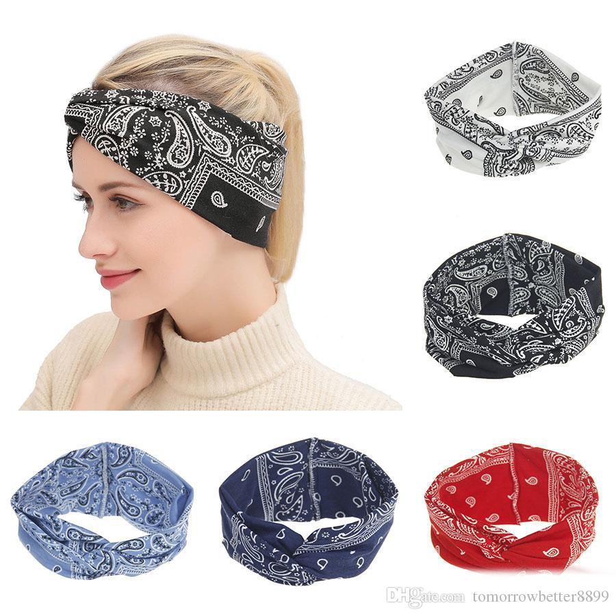 Las mujeres con nudos de la impresión de estiramiento de yoga ancha diadema Deportes Turbante Hairband 21 * 10 cm de la cabeza del turbante Banda Accesorios para el cabello