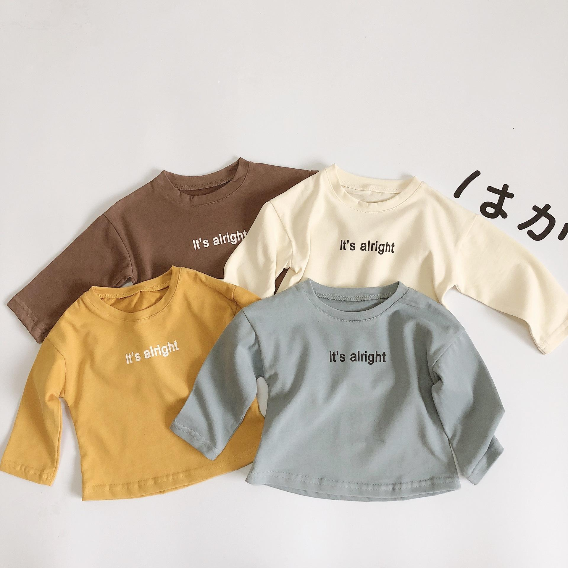Spring Korean style baby boys girls letters printed long sleeve T shirts 1-6 years boys kids pure cotton casual Tees Y200704