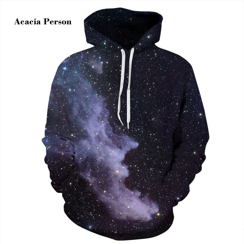 Novo Espaço Da Moda Galaxy Hoodies Homens / Mulheres 3d Camisolas de Impressão Estrelas Nebulosa Unisex Fino Com Capuz Moletons Tops Acacia Pessoa