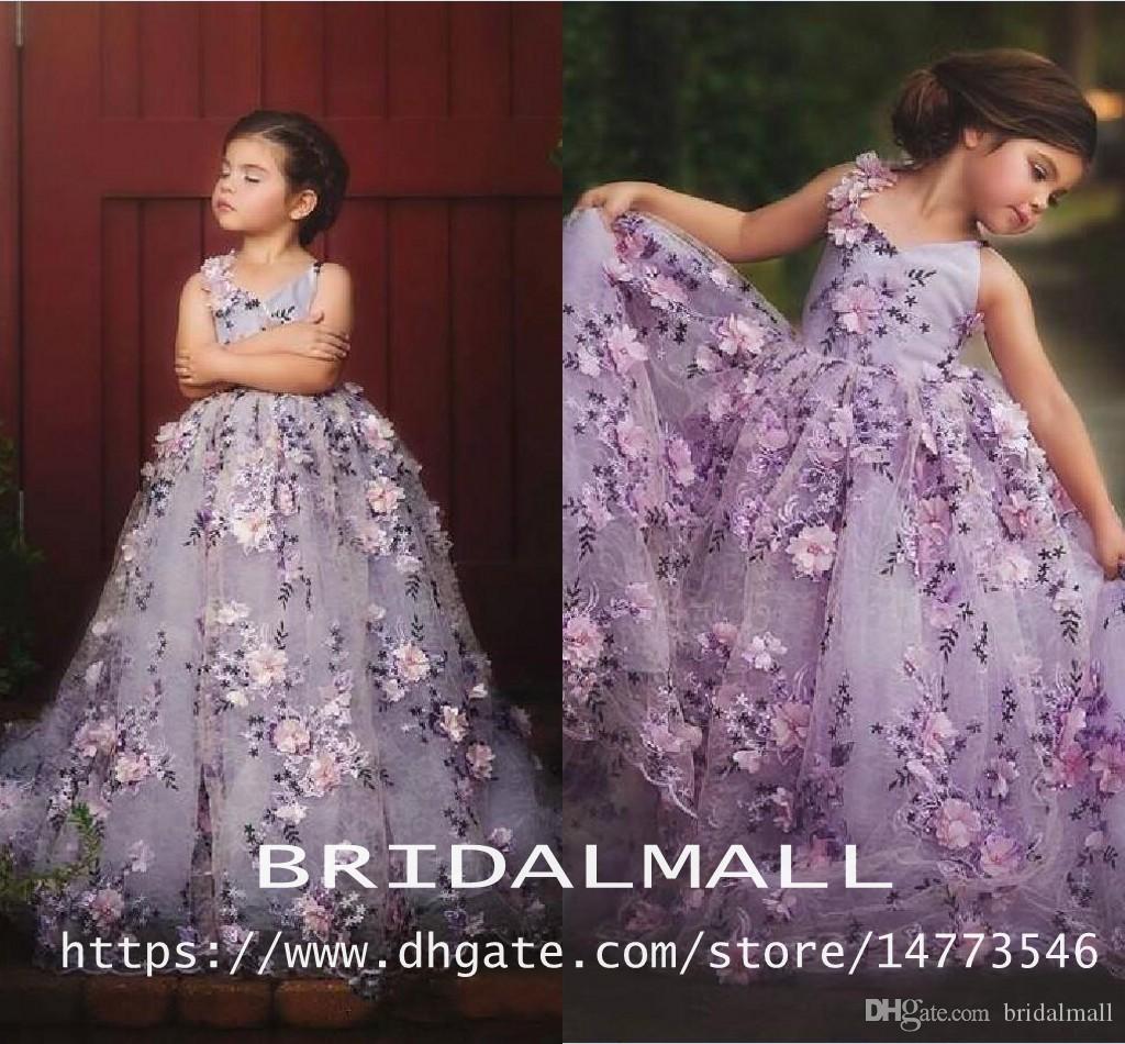 Lavande dentelle Little Girls Pageant Robes 3D Appliques Floral Toddler Robe de bal de balle Fleur Robe De Fille Longueur Tulle Première Communion Robes