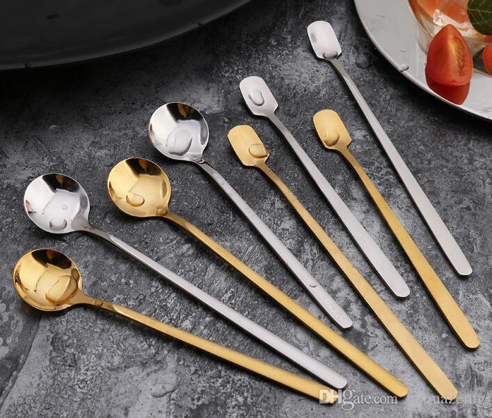 Stainless steel ice scoop Square head mug spoon Household tea long handle mixing spoon round spoon custom l gift tableware