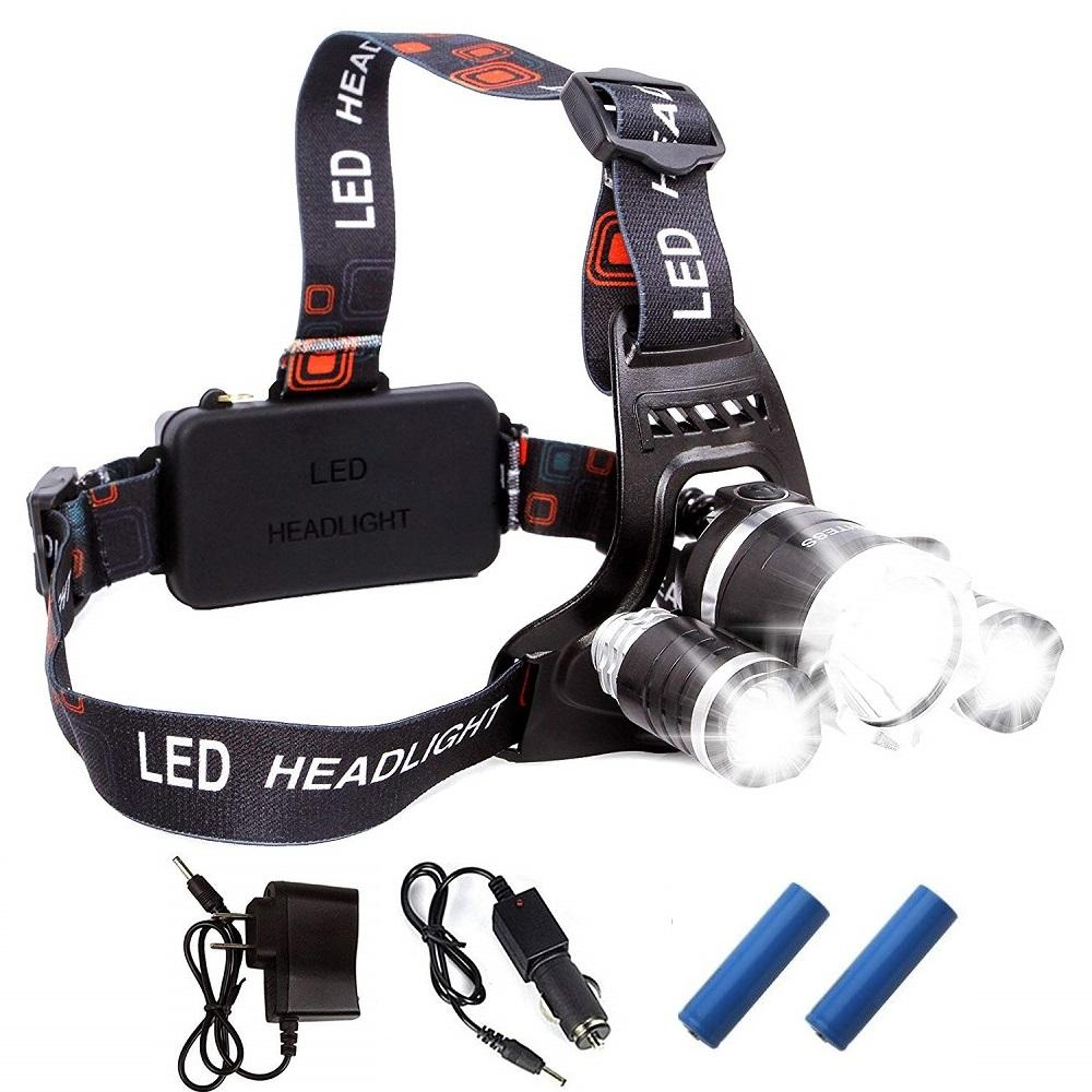 2020 Rechargeable Headlight 13000Lm xm-T6 3Led HeadLamp head light Fishing Lamp Hunting Lantern +2x 18650 battery +Car/AC/USB Charger