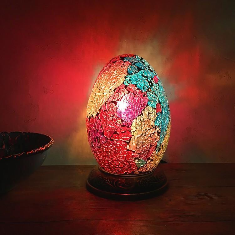 Mısır Yumurta Masa Lambası Yatak Başucu Gece Lambası Retro Romantik Egzotik El Mozaik Cam Masa Lambası