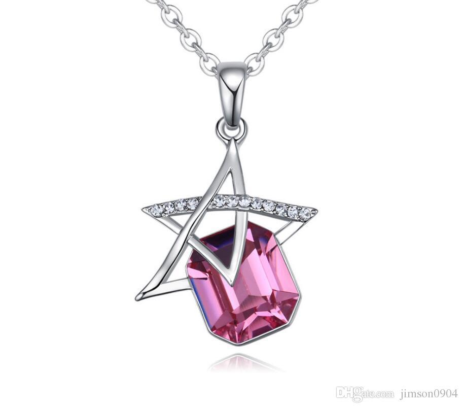 Moda Mulher jóias Originalidade Ornamentos Swarovski Elemental Colar de Cristal de Luxo de Cinco pontas-estrela pingentes Boutique de jóias