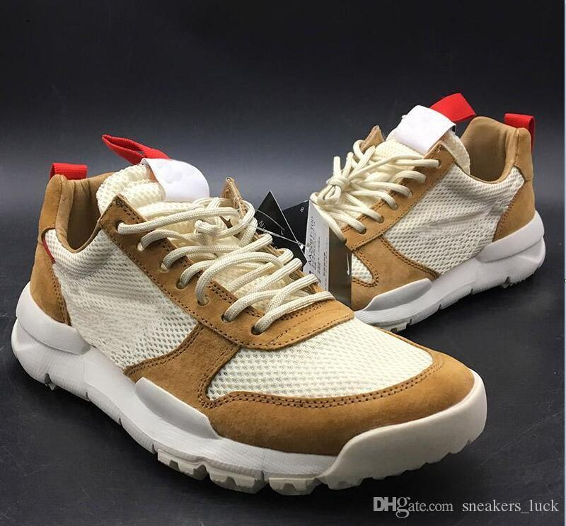 Tom Sachs nouvelles Sortie Craft Mars de la NASA 2.0 TS cour Chaussures AA2261-100 Natural / Sport Red-Maple unisexe Chaussures Taille 36-45 causales