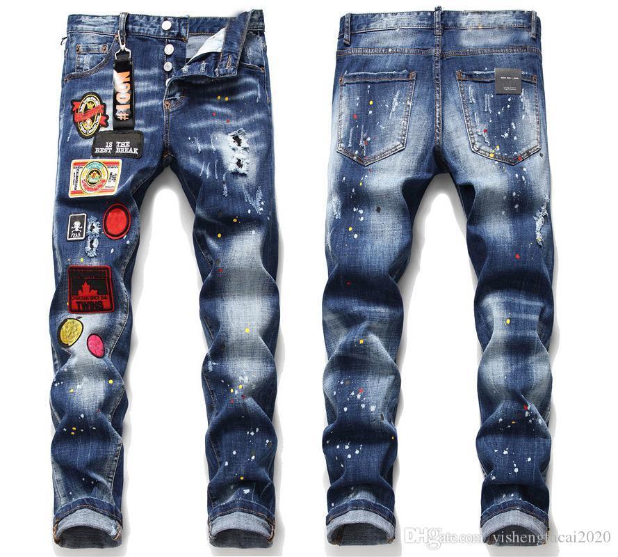 Novo 2020 Mens Badge Slim Fit Jeans Designer de moda Skinny Lavagem de Motocycle Denim Calças Paneladas Hip Hop Biker Calças