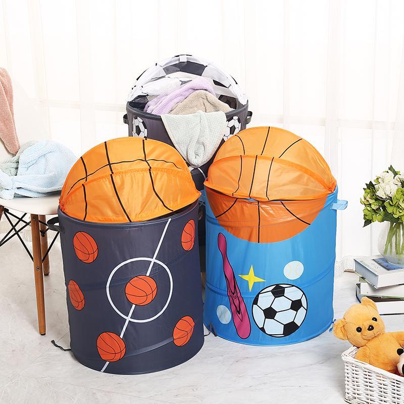 Cesti di stoccaggio di pallacanestro calcio calcio cesto della biancheria impermeabile tessuto arte borsa della lavanderia pieghevole secchio camera organizer GGA1891
