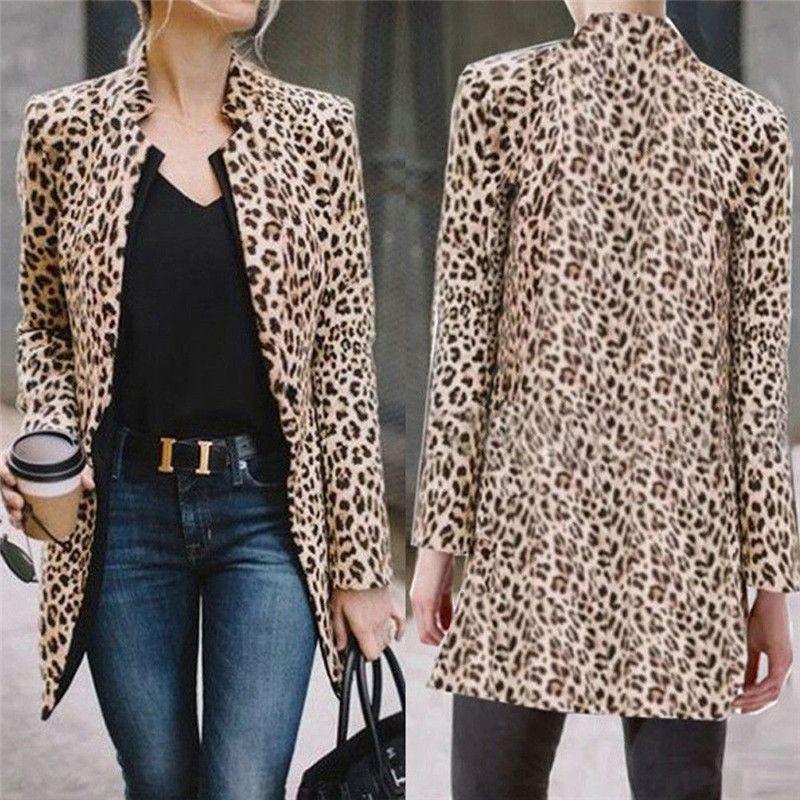 HIRIGIN Newest Leopard Jacket Women Slim Top Warm Casual Winter Cardigan Cappotti a maniche lunghe