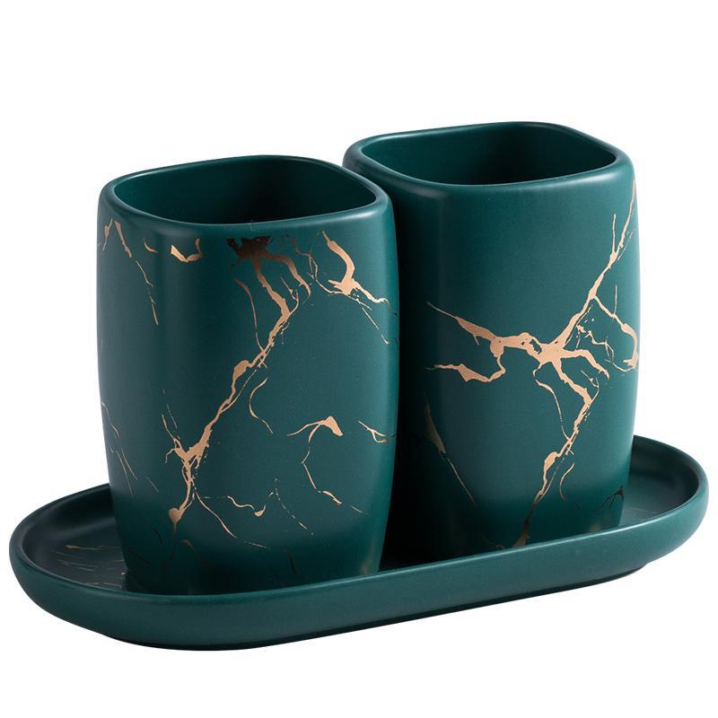 Ceramica marmorizzazione Bocca Coppia Outfits spazzolino Cup Wash Tooth Mug un paio di regali di nozze tazza tazas de Ceramica Creativas
