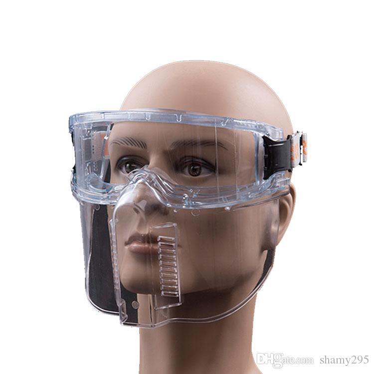 Máscara protectora transparente gafas de seguridad a prueba de polvo a prueba de viento de la mascarilla anti-salpicaduras Máscaras de PC de alta resistencia para la cocina de Trabajo del envío gratis