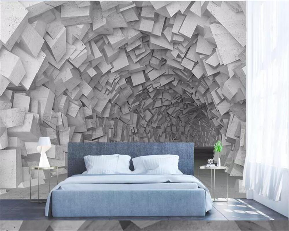 carta da parati beibehang per la camera dei bambini semplice spazio tridimensionale costruzione geometrica della parete del salone carta da parati per le pareti 3 d