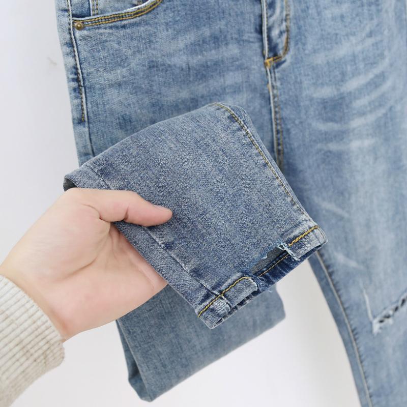 Yeni Bahar 2020 Moda Yüksek Bel Mon Jeans Casual Ripped Jeans For Women Mavi Ayak bileği-Uzunluk Harem Denim Pantolon Artı boyutu 5XL