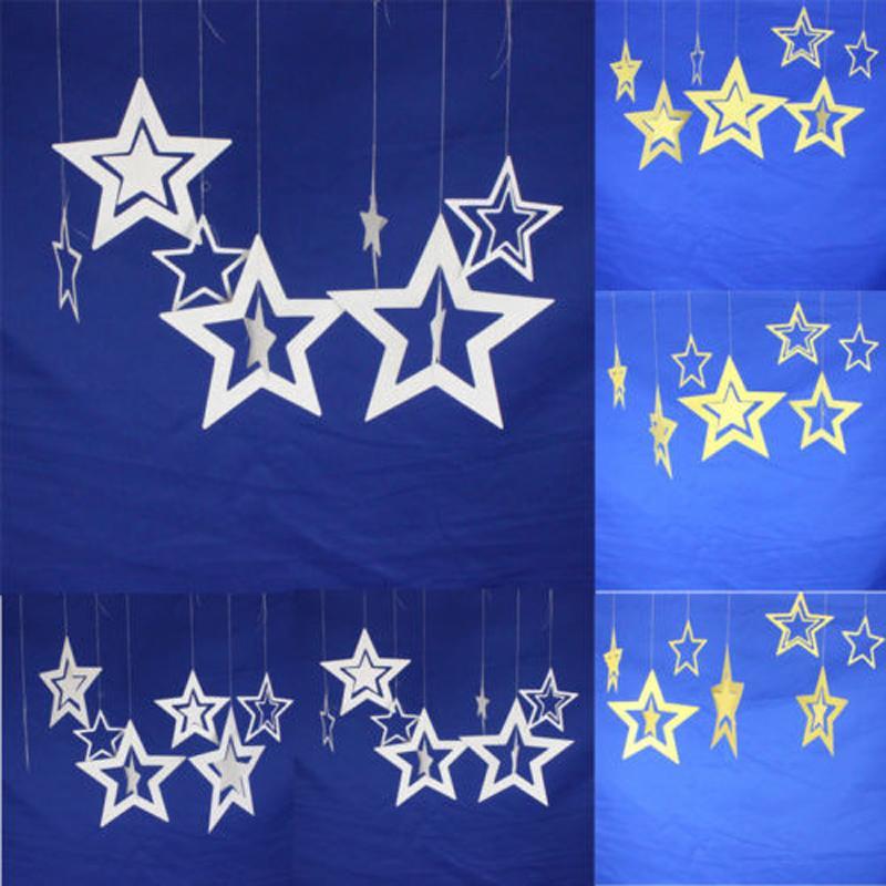3D Xmas ocas Estrelas Paper Hanging Bar do casamento do Natal Teto Partido Home Decor Pendant