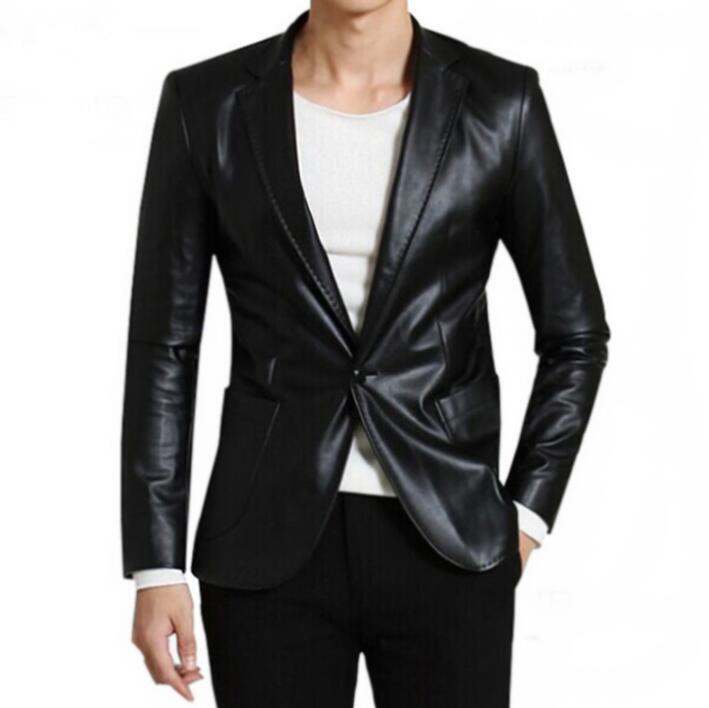 PU leather suits men warm blazer fashion black brown Plus velvet masculino slim fit casaco jaqueta masculina coats mens jacket