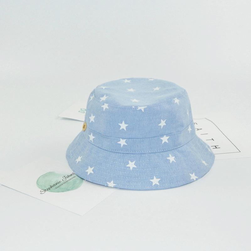 Kinder Sommer Adjustable Fischerhut Mädchen Jungen weicher Baumwolle Denim Sonnenhut nette Stern gedruckt Snapback Caps Außensonnenblende Hut