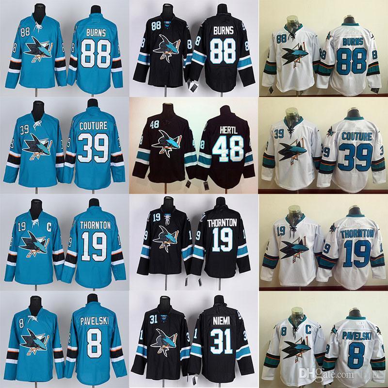Mens San Jose Sharks Jersey 8 Joe Pavelski 9 Evander Kane 19 Joe Thornton 39 Logan Couture 88 Brent Burns Hockey Jerseys