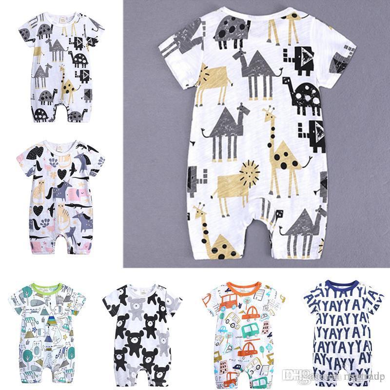 INS Baby Onesies Pagliaccetti estivi in cotone YAY Lettere Orso Ragazzi Ragazze 0-24 mesi Abbigliamento per bambini Maglieria a maniche corte Cartone animato Completo