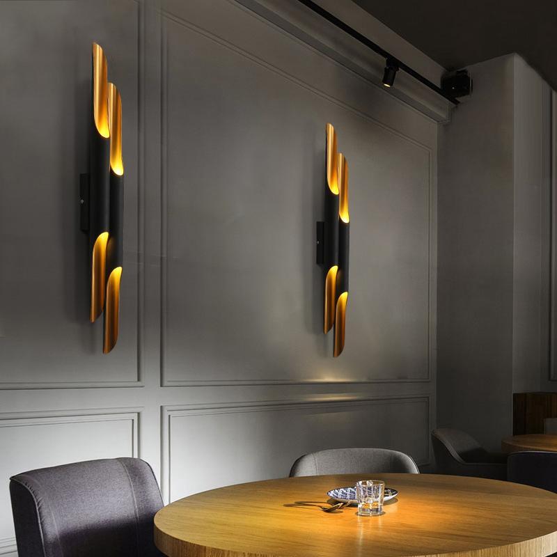 Modern design lamp Delightfull Coltrane Wall Lamp Black Gold Inclined Wall Light up down aluminum pipe lights