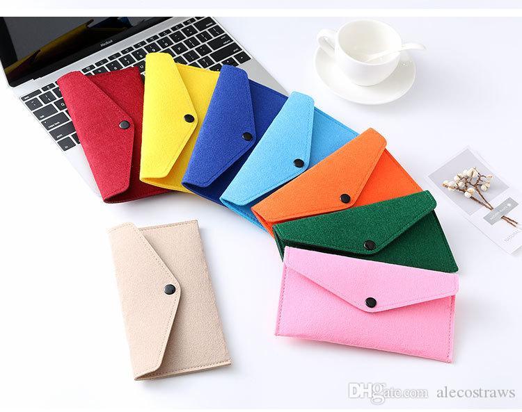 22 Cores Felt Atacado Mobile Phone Bag Caso Universal Cell Phone Holder Envelope Locking Cloth Bag Coin Purse Carteiras Package AC1118