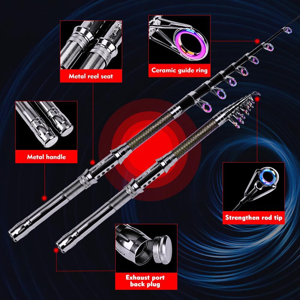Горячая спиннинг из углеродного волокна Телескопическая удочка 1,8 - 3,6 м с металлической ручкой + катушка для катера