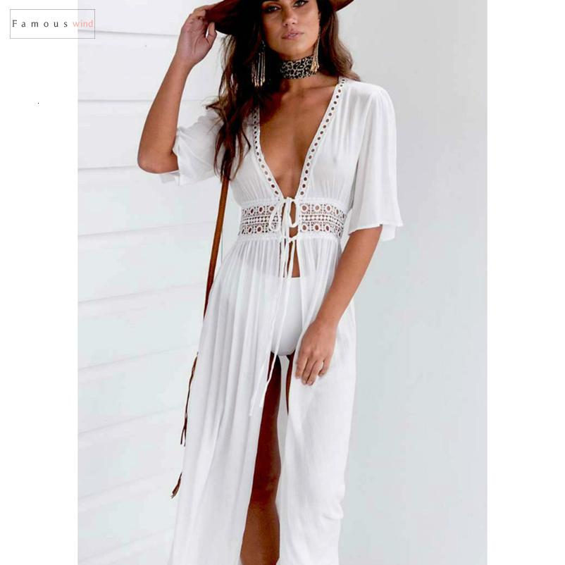 Verão vestido Praia Bikini Swimwear Mulheres Vestidos Beachwear Kaftan Dividir V profundo oco Out laço longo vestido maxi roupas de grife