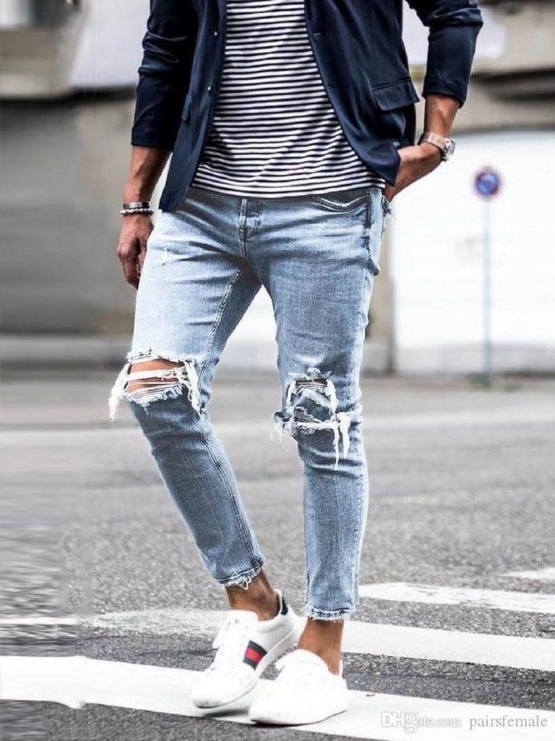 Löcher Lange Designer Herren Jeans mittlere Taillen-Regular Gewaschene Zipper Moderne Männer nehmen Jeans Male Bekleidung
