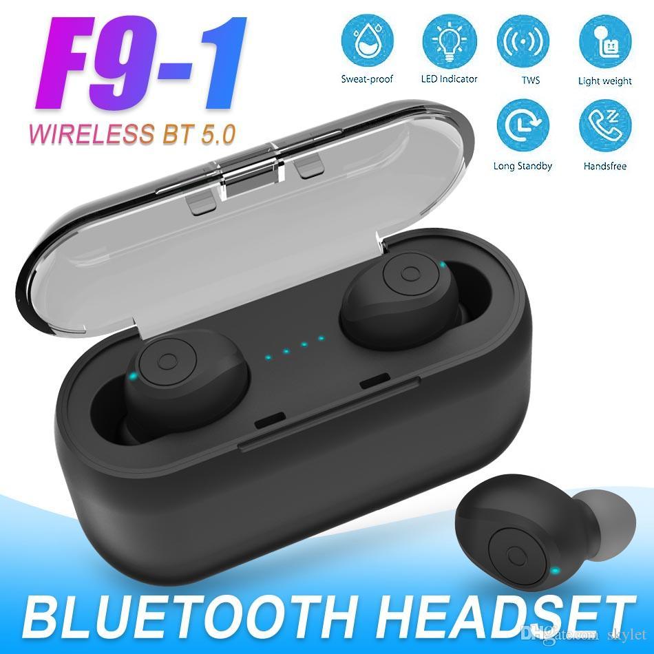 F9-1 Smart Bluetooth Earphone Wireless Stereo HIFI Multi-funcation Key Control Headphones with Indicator Charging Box Retail Package