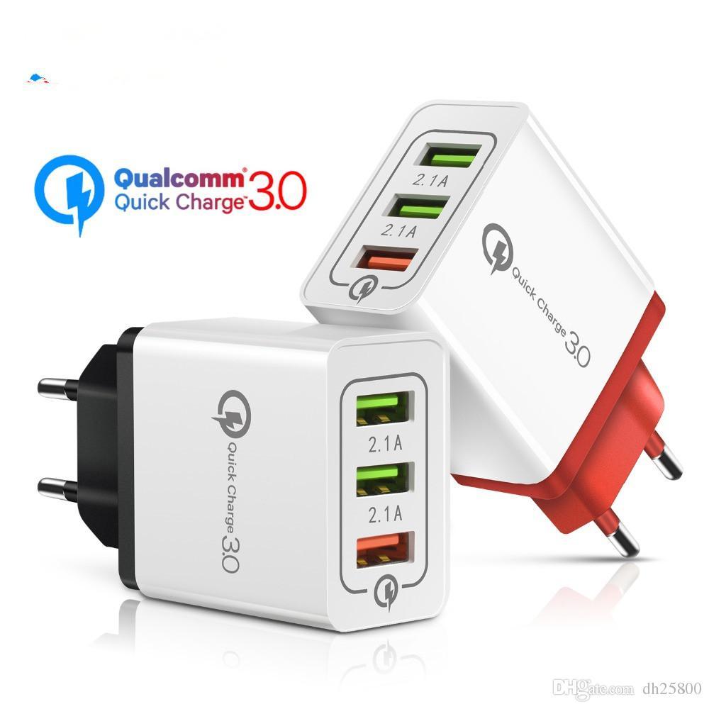 18W Quick Charge 3.0 2.1A Multi-USB-Ladegerät Schneller EU-Stecker Wandadapter QC 3.0 Aufladen des Mobiltelefons für iPhone X 7 Samsung