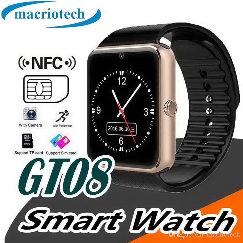 relojes inteligentes smartwatch teléfonos con reloj bluetooth para hombres y mujeres GT08 compatible con tarjeta SIM Tarjeta TF para teléfono inteligente Android
