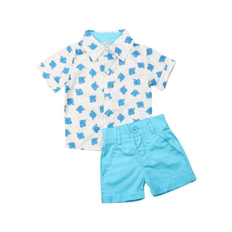 Crianças Baby Boy ternos formais Verão Define Elephant Imprimir T-shirt Sólidos Shorts 2pcs Crianças Party Boy Roupa Outfits 1-5Y