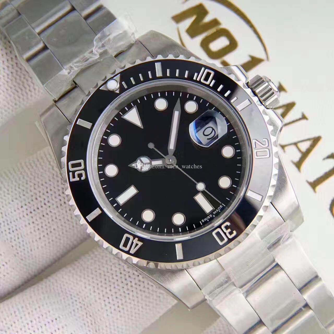 디럭스 망 자동 기계 남성 시계 40mm 2813 운동 세라믹 베젤 116610 모델 스테인레스 스틸 사파이어 시계 시계 시계
