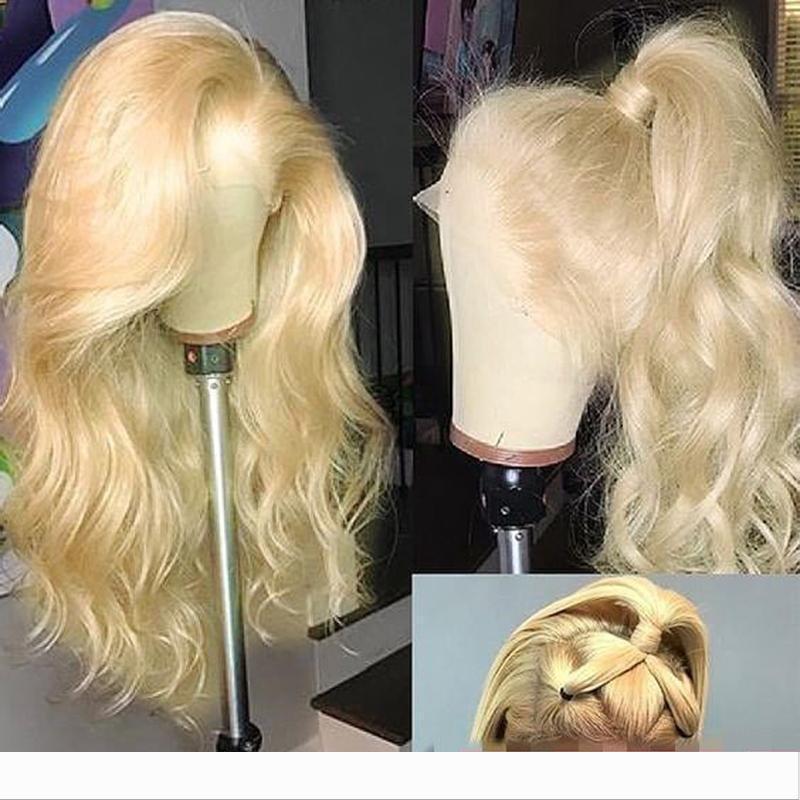 Tam Dantel İnsan Saç Peruk Ombre Sarışın 613 Renkli Islak Ve Dalgalı Brezilyalı Virgin Öncesi Mızraplı Sarışın Lacefront Peruk ağartılmış Knots